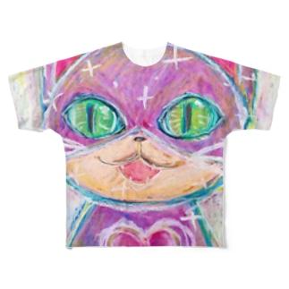 キュートハート・キャット Full graphic T-shirts