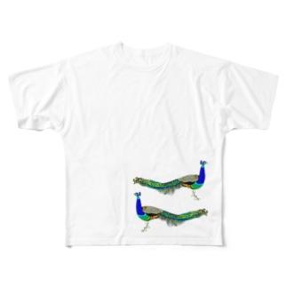 はりきって孔雀。 Full graphic T-shirts