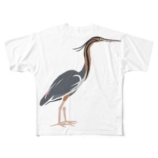 ムラサキサギ両面 Full graphic T-shirts