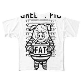 GREEDY PIG Full graphic T-shirts
