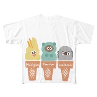 たぬフレのアイスクリームやさん Full graphic T-shirts
