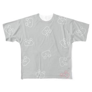 はらへりしろくまざんまい<グレー> Full graphic T-shirts