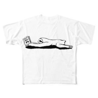 本と、なまけもの(モノクロ) Full Graphic T-Shirt