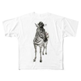 Animals シリーズ 〜グラントシマウマ〜 Full graphic T-shirts