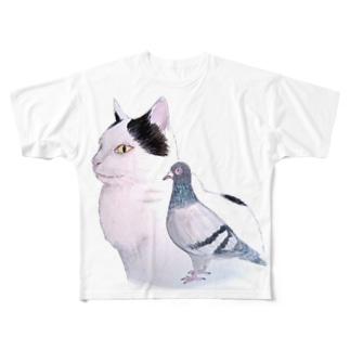 猫とハト Full graphic T-shirts