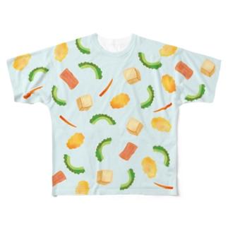 ごーやちゃんぷる(ブルー)両面プリント Full graphic T-shirts