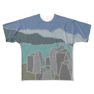 P&B=ストーン6-1 Full graphic T-shirts