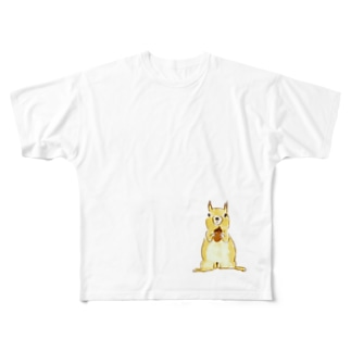 papricaのどんぐりとリス Full graphic T-shirts