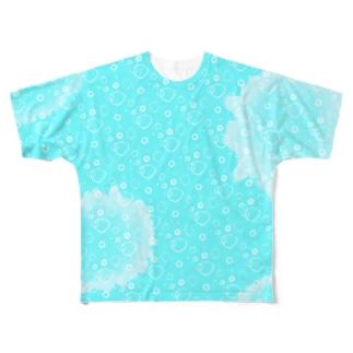 ミルクB(フルグラフィック背面微濃青) Full graphic T-shirts