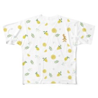 うさぎとレモン柄Tシャツ Full graphic T-shirts