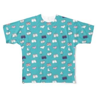 非ユークリッド幾何学を考える kodaisakanaのおパンツと▲と鳥  みずいろ Full graphic T-shirts