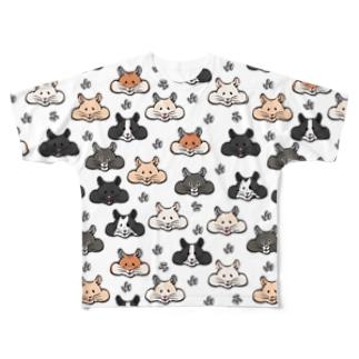 顔面ハムちゃん Full graphic T-shirts