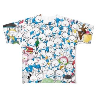 ラビット・ユキネのちゃぶ台商店のフルグラ・ユキネTシャツ(大集合Ver.)  Full graphic T-shirts