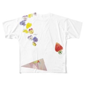 ビオラとイチゴと恋の三角 Full graphic T-shirts