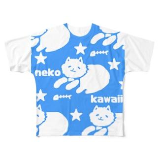 neko kawaii 青 Full graphic T-shirts