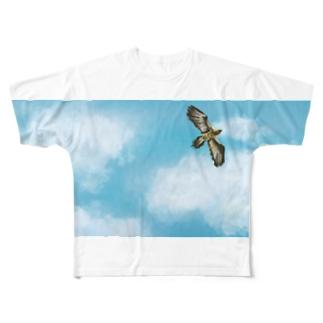 高く飛ぶヒゲワシ Full graphic T-shirts