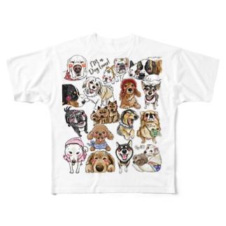 犬に夢中(クリア) Full graphic T-shirts