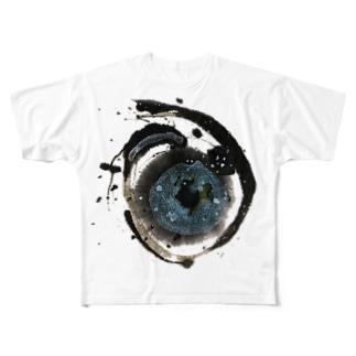 ア(宇宙)ヲシテ文字 Full graphic T-shirts