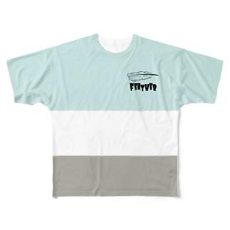 羽根とボーダー(ミント系) Full graphic T-shirts