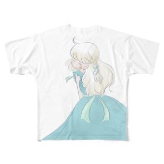 エメラルドの女の子Tシャツ Full graphic T-shirts