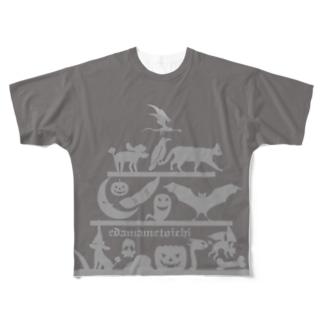 ハロウィン 2. グレイ Sサイズ用 両面 Full graphic T-shirts
