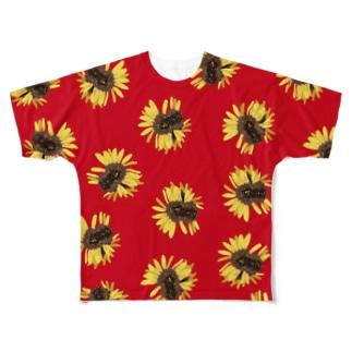 奇形のひまわり、まきちらし:あか Full graphic T-shirts