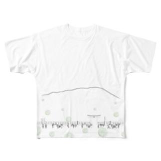 チャグチャグ馬コ行列 緑 フルグラ Full graphic T-shirts