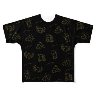 スカラベ_ブラック Full graphic T-shirts