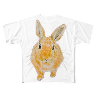 せまりくるうさぎ(むぎ) Full graphic T-shirts