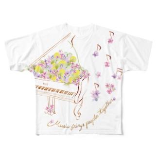 花の音符♪ver Full graphic T-shirts