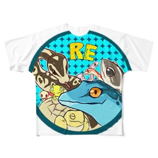 爬虫類いろいろ Full graphic T-shirts