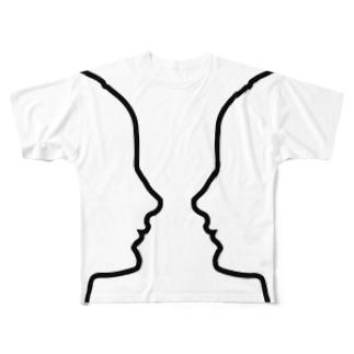 『ある女性の肖像』ルビンの壺風(ホワイト) Full graphic T-shirts