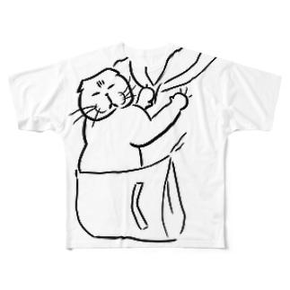 目を閉じて抱っこマルT黒 Full graphic T-shirts