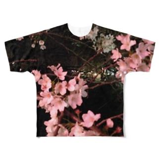 夜桜 Full graphic T-shirts