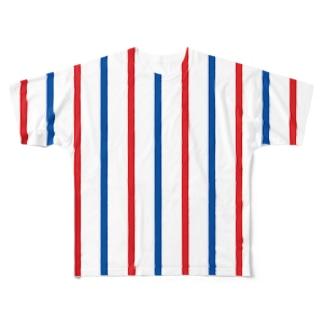 トリコロールピンストライプ Full graphic T-shirts