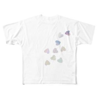 ハートのホログラム Full graphic T-shirts