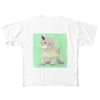 萌獣 猫 ユニャコーン/ゆにゃんこ:たけのこの里 Full graphic T-shirts