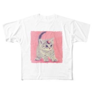 萌獣 猫 ユニャコーン/ゆにゃんこ:アポロ Full graphic T-shirts