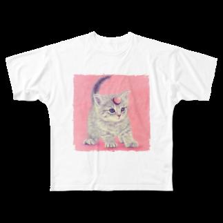 萌獣ファクトリーの萌獣 猫 ユニャコーン/ゆにゃんこ:アポロ Full graphic T-shirts