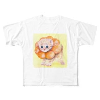 萌獣 猫 ポンデニャイオン Full graphic T-shirts