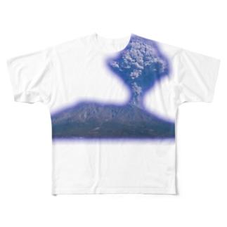 紫煙る桜島グッズ Full graphic T-shirts