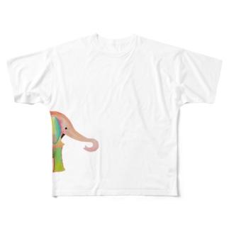 カラフルなゾウグッズ Full graphic T-shirts