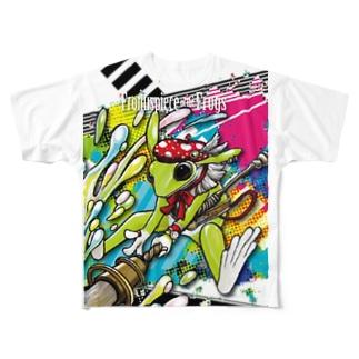 画家エリミミガエル(緑3) Full graphic T-shirts