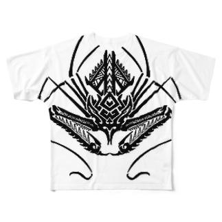 ウデムシのトライバル Full graphic T-shirts