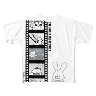 BabyShu shopのシネマ鷺ハムシリーズ Full graphic T-shirts