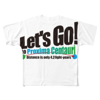 ACTIVE-HOMINGのLet's Go! to Proxima Centauri グッズ黒字斜め Full graphic T-shirts