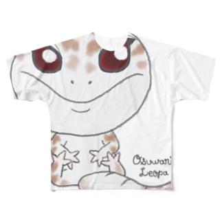 おすわりレオパ(スーパーアルビノ系) Full graphic T-shirts