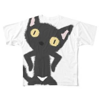 白いおパンツなクロニャンコ Full graphic T-shirts