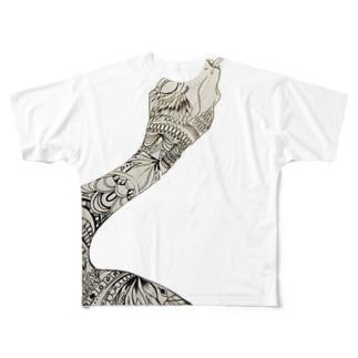 スネーク善タングル Full graphic T-shirts