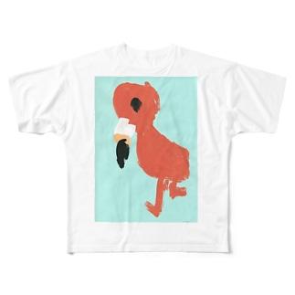フラミンゴべぇちゃん Full graphic T-shirts